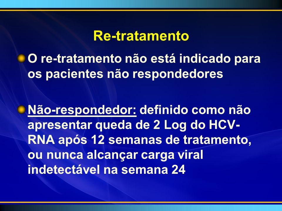 Re-tratamento O re-tratamento não está indicado para os pacientes não respondedores.