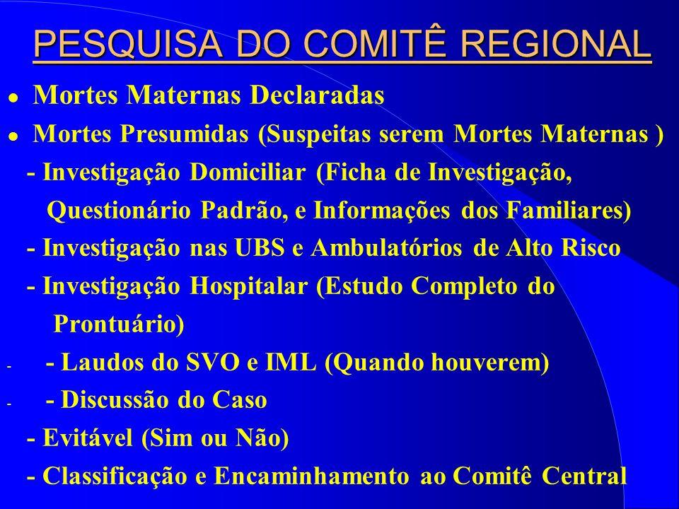 PESQUISA DO COMITÊ REGIONAL