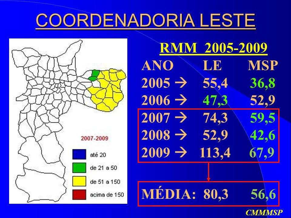 COORDENADORIA LESTE RMM 2005-2009 ANO LE MSP 2005  55,4 36,8