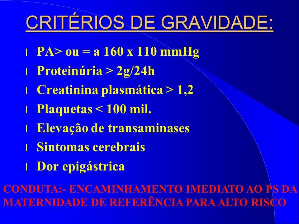 CRITÉRIOS DE GRAVIDADE: