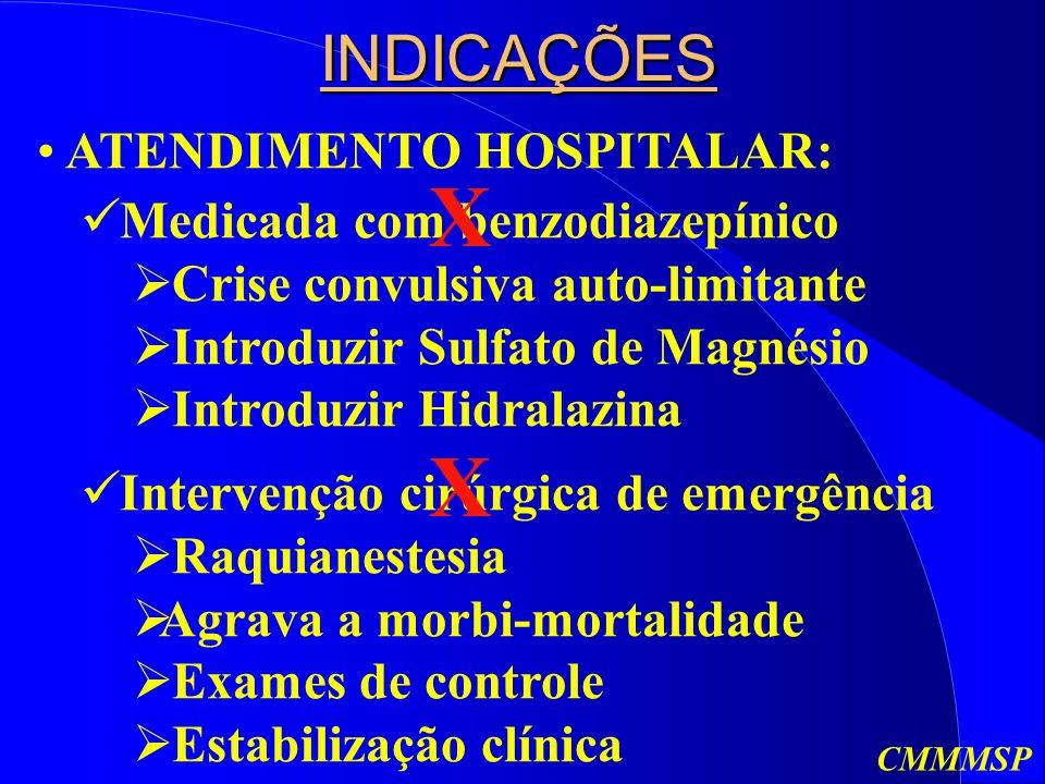 X X INDICAÇÕES ATENDIMENTO HOSPITALAR: Medicada com benzodiazepínico