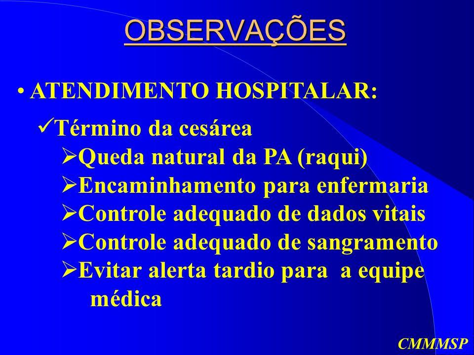 OBSERVAÇÕES ATENDIMENTO HOSPITALAR: Término da cesárea