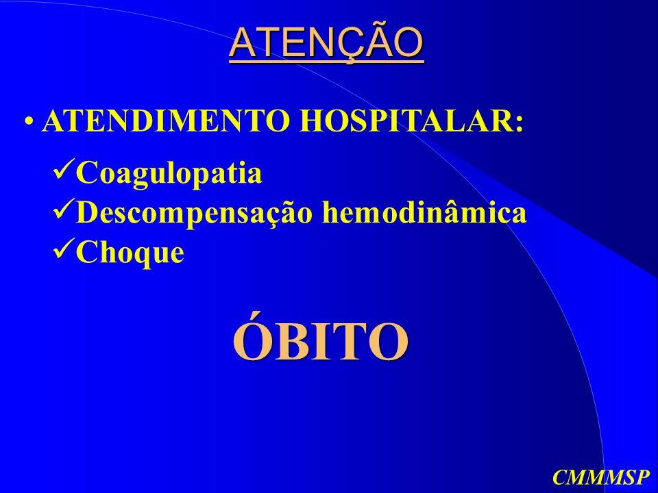 ÓBITO ATENÇÃO ATENDIMENTO HOSPITALAR: Coagulopatia