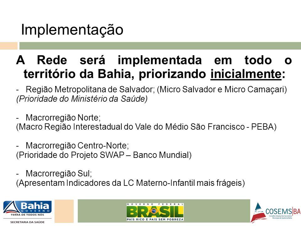 Implementação A Rede será implementada em todo o território da Bahia, priorizando inicialmente: