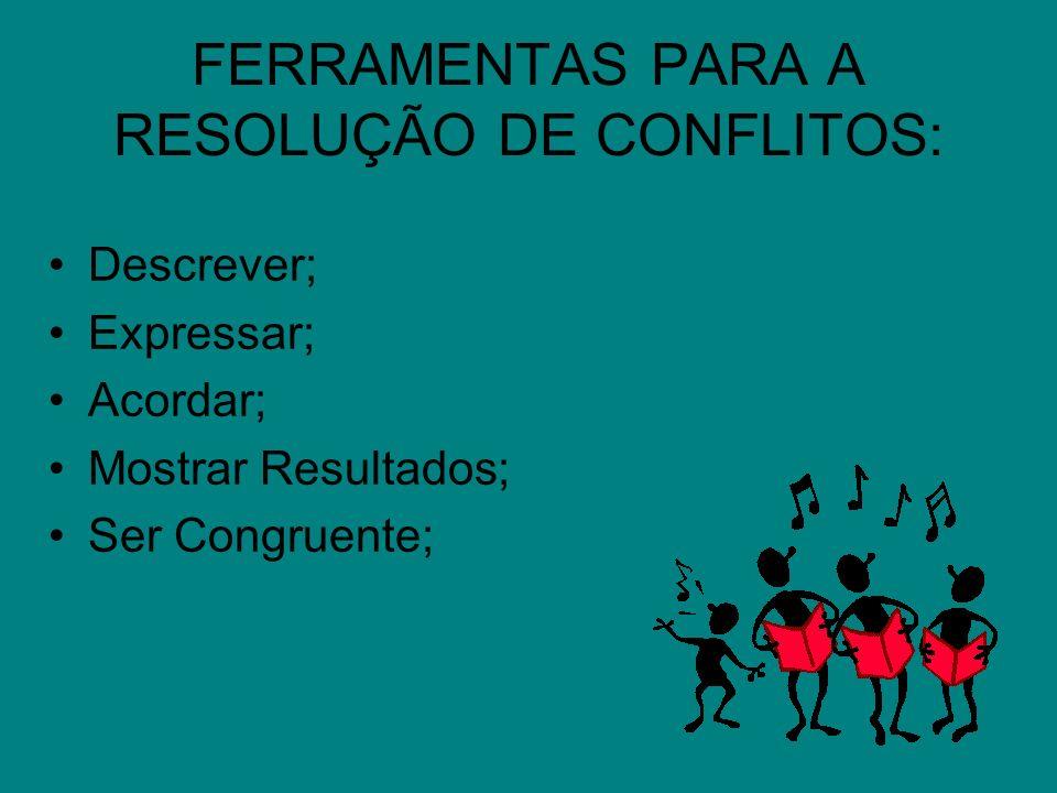 FERRAMENTAS PARA A RESOLUÇÃO DE CONFLITOS:
