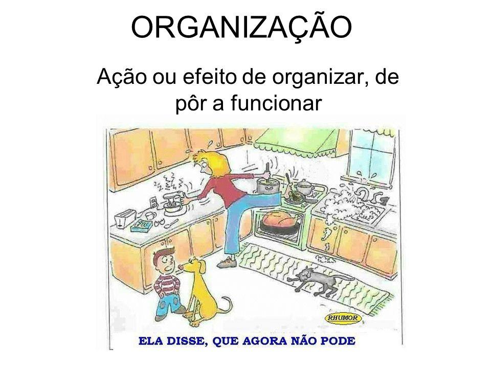 Ação ou efeito de organizar, de pôr a funcionar