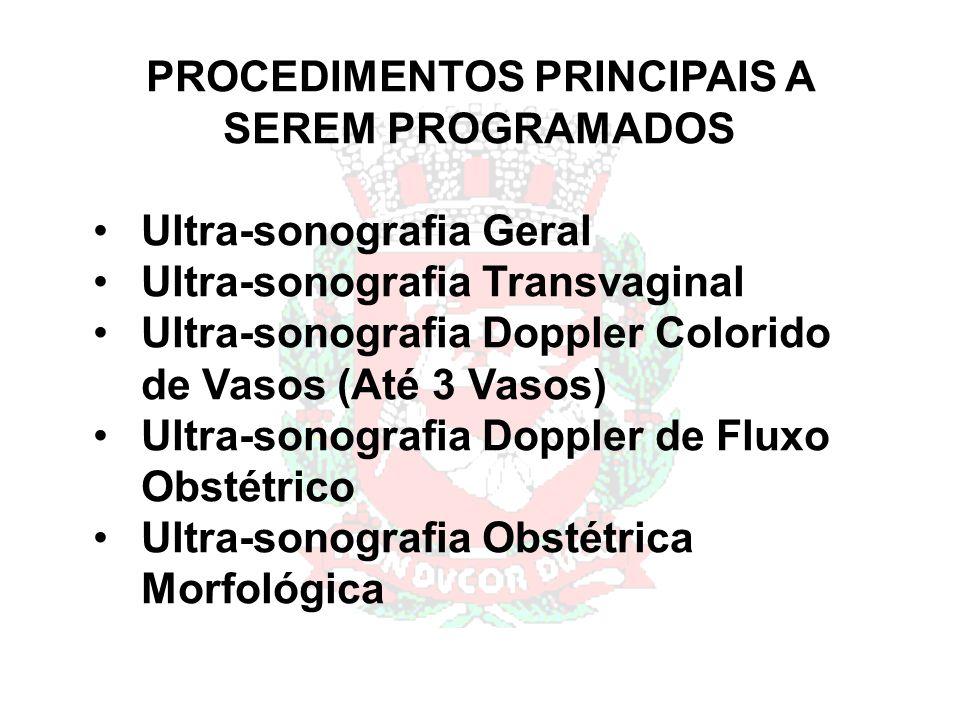 PROCEDIMENTOS PRINCIPAIS A SEREM PROGRAMADOS