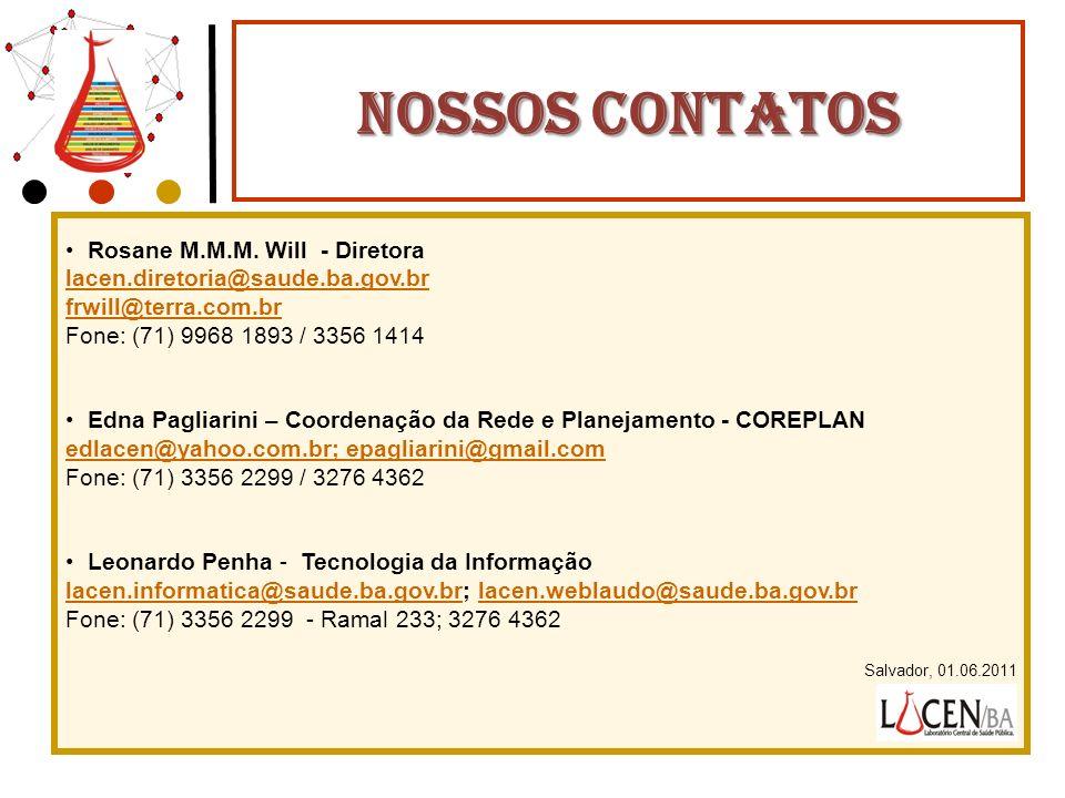 NOSSOS CONTATOS Rosane M.M.M. Will - Diretora