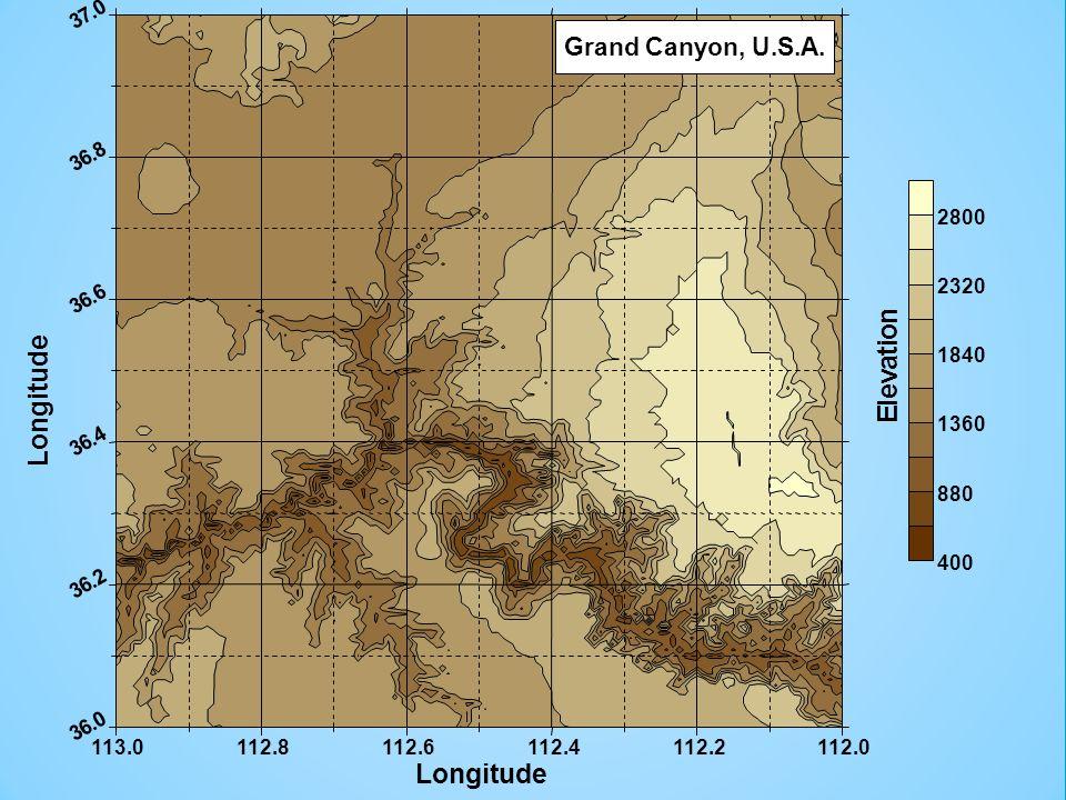 n o i t a v e l E Longitude Grand Canyon, U.S.A. 113.0 112.8 112.6