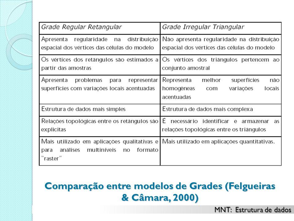 Comparação entre modelos de Grades (Felgueiras & Câmara, 2000)
