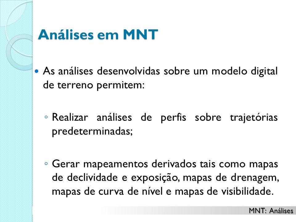 Análises em MNT As análises desenvolvidas sobre um modelo digital de terreno permitem: