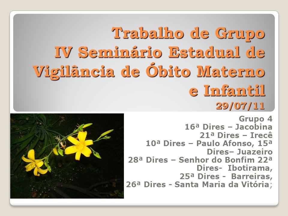 Trabalho de Grupo IV Seminário Estadual de Vigilância de Óbito Materno e Infantil 29/07/11