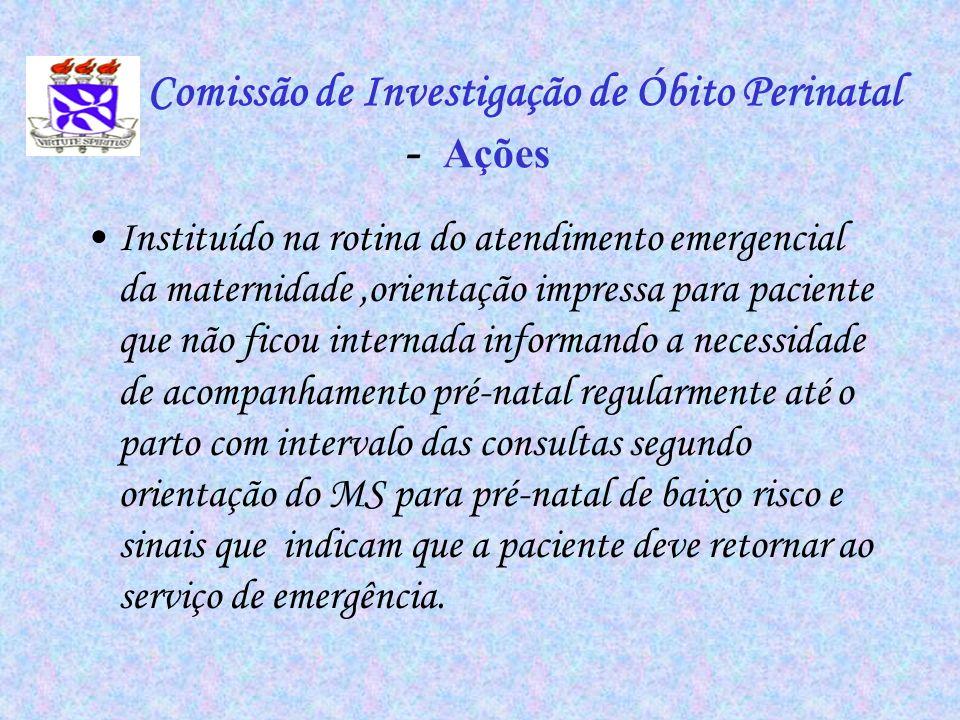 Comissão de Investigação de Óbito Perinatal - Ações