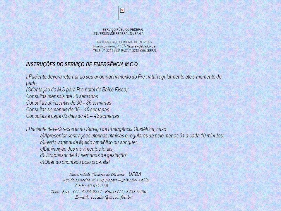 INSTRUÇÕES DO SERVIÇO DE EMERGÊNCIA M.C.O.