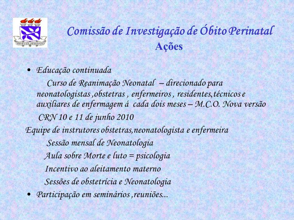Comissão de Investigação de Óbito Perinatal Ações