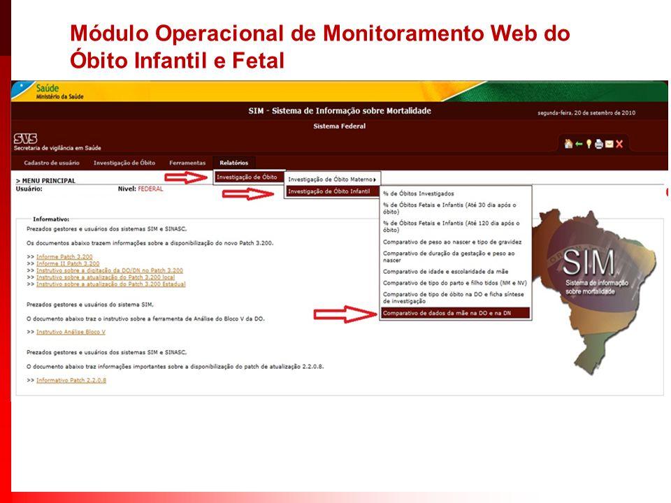 Módulo Operacional de Monitoramento Web do Óbito Infantil e Fetal
