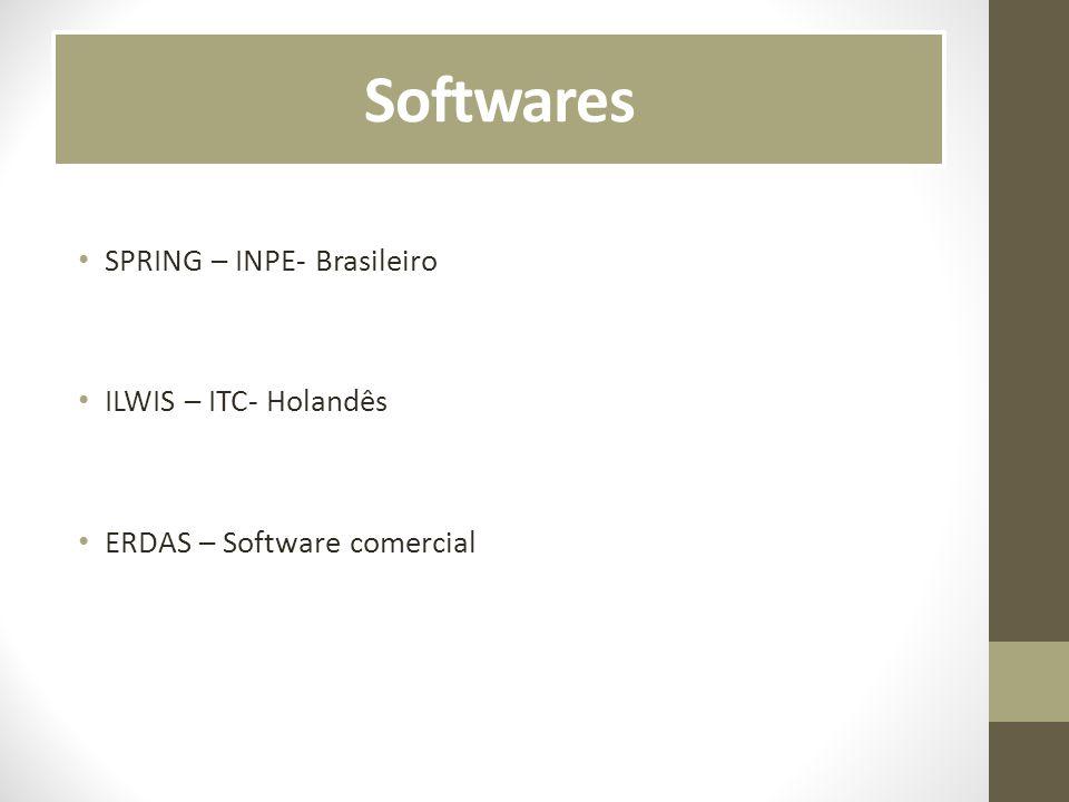 Softwares SPRING – INPE- Brasileiro ILWIS – ITC- Holandês
