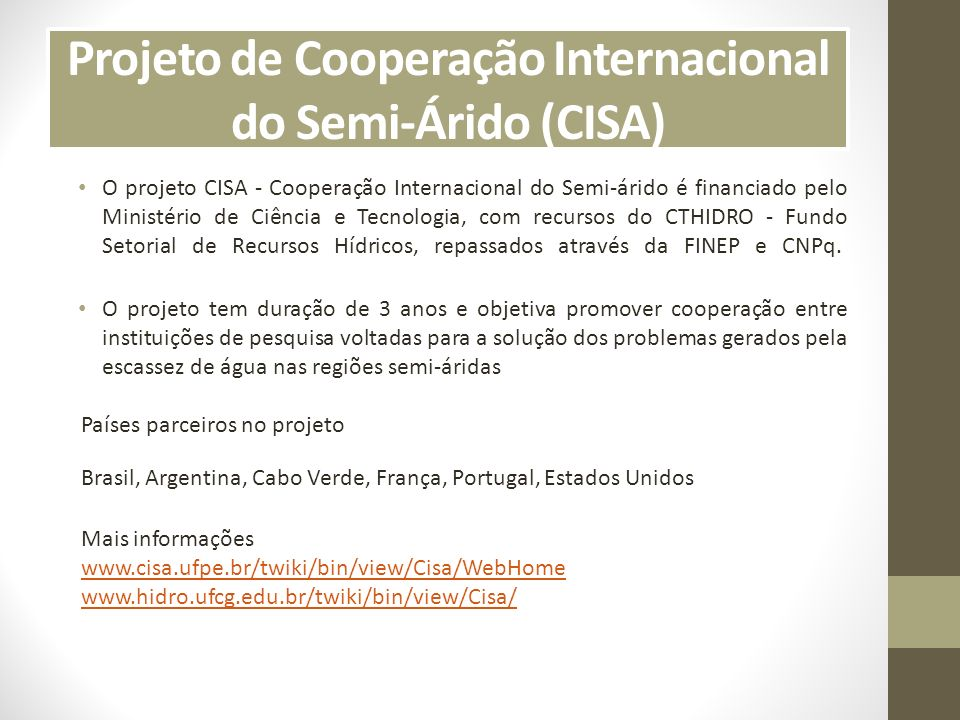 Projeto de Cooperação Internacional do Semi-Árido (CISA)