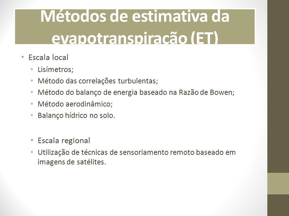 Métodos de estimativa da evapotranspiração (ET)