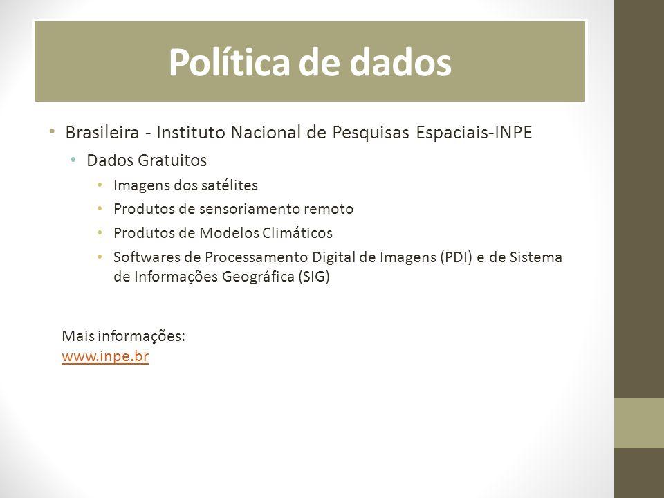 Política de dadosBrasileira - Instituto Nacional de Pesquisas Espaciais-INPE. Dados Gratuitos. Imagens dos satélites.
