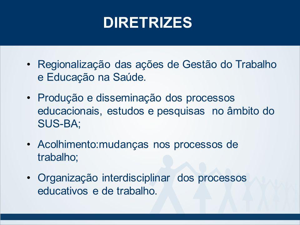 DIRETRIZESRegionalização das ações de Gestão do Trabalho e Educação na Saúde.