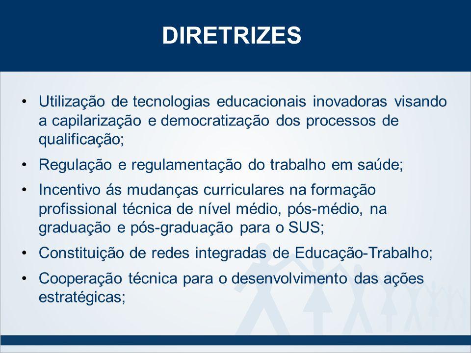 DIRETRIZES Utilização de tecnologias educacionais inovadoras visando a capilarização e democratização dos processos de qualificação;