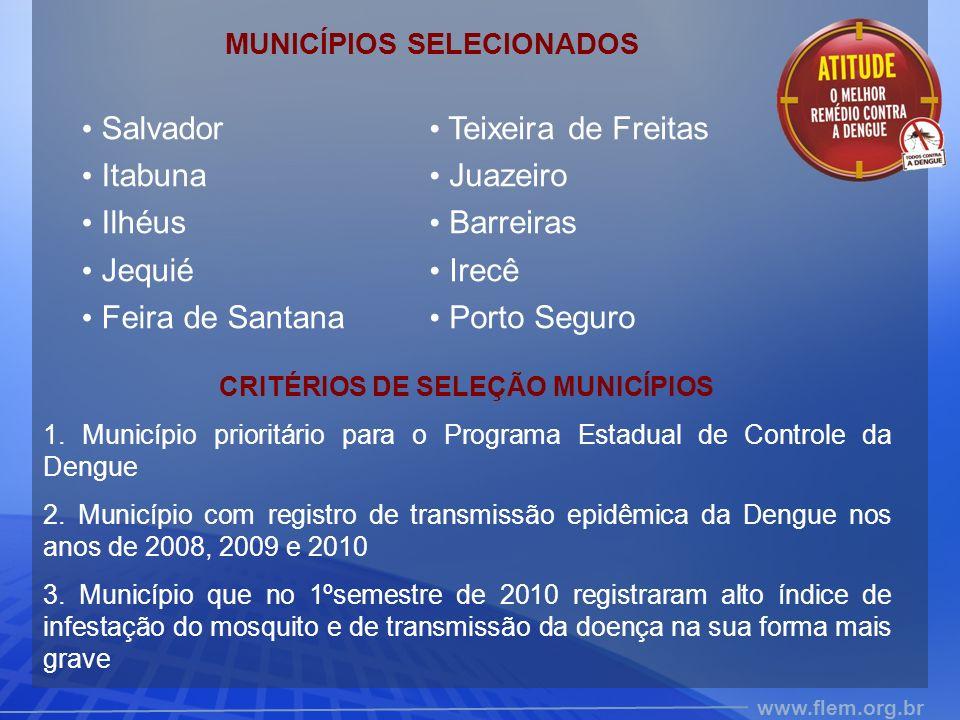 MUNICÍPIOS SELECIONADOS CRITÉRIOS DE SELEÇÃO MUNICÍPIOS