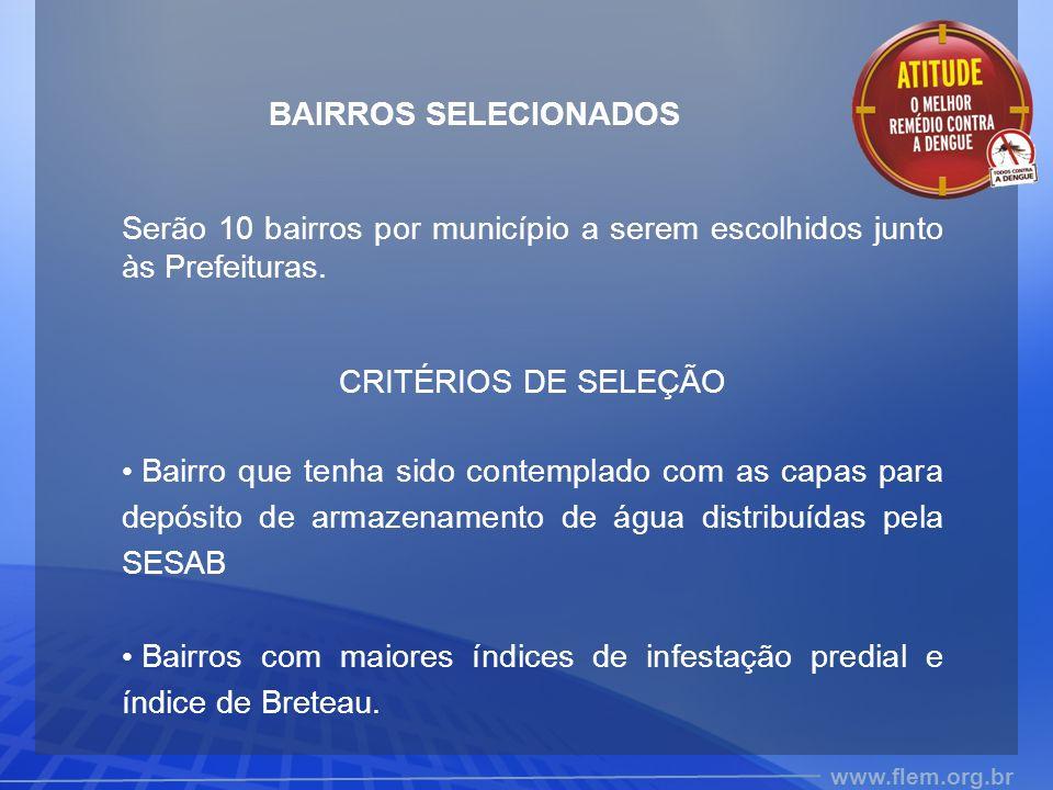 BAIRROS SELECIONADOS Serão 10 bairros por município a serem escolhidos junto às Prefeituras. CRITÉRIOS DE SELEÇÃO.
