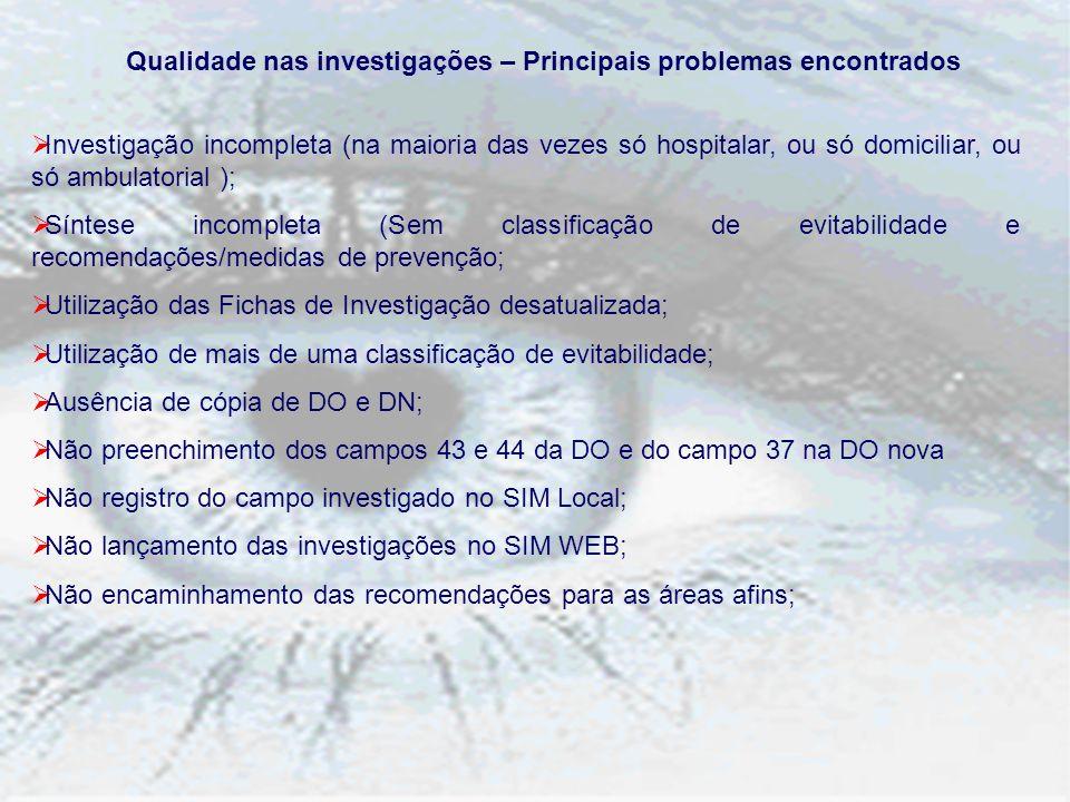 Qualidade nas investigações – Principais problemas encontrados