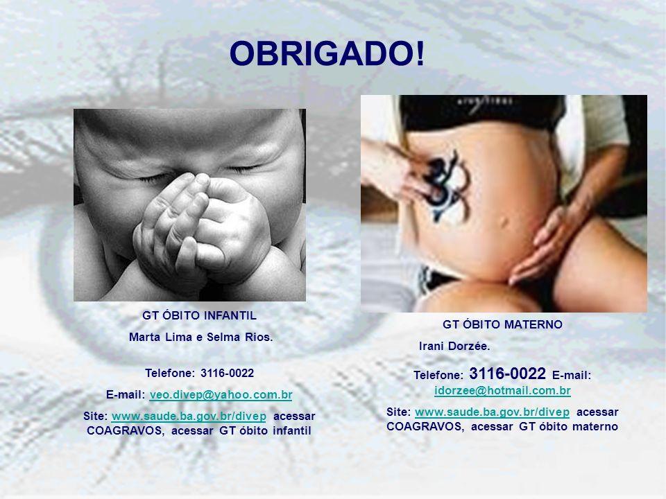 OBRIGADO! GT ÓBITO INFANTIL Marta Lima e Selma Rios. GT ÓBITO MATERNO