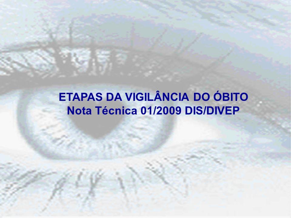 ETAPAS DA VIGILÂNCIA DO ÓBITO Nota Técnica 01/2009 DIS/DIVEP