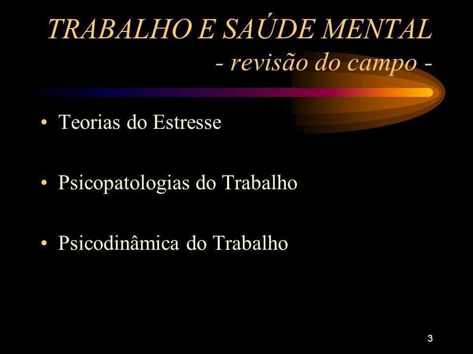 TRABALHO E SAÚDE MENTAL - revisão do campo -