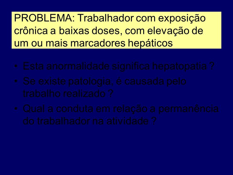 PROBLEMA: Trabalhador com exposição crônica a baixas doses, com elevação de um ou mais marcadores hepáticos