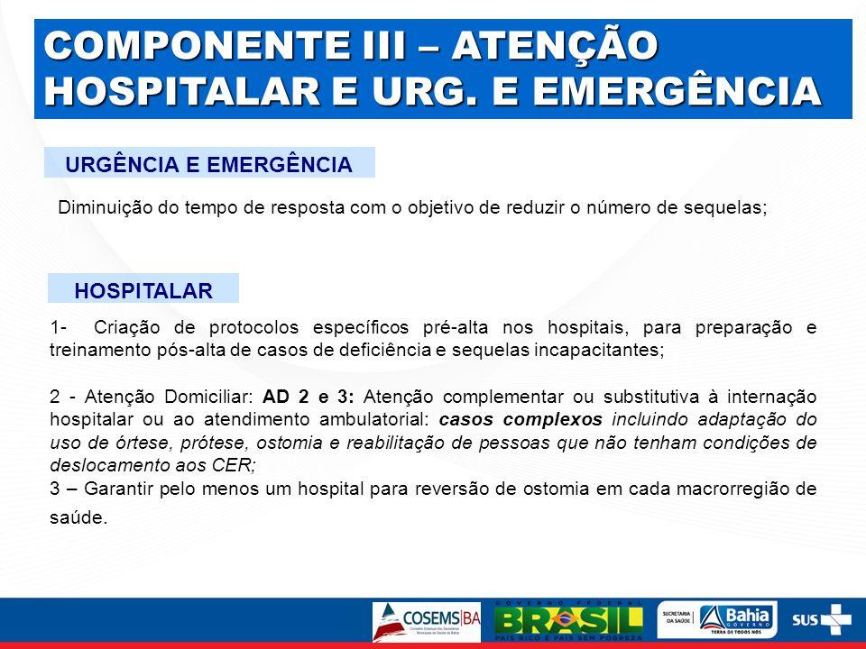 COMPONENTE III – ATENÇÃO HOSPITALAR E URG. E EMERGÊNCIA