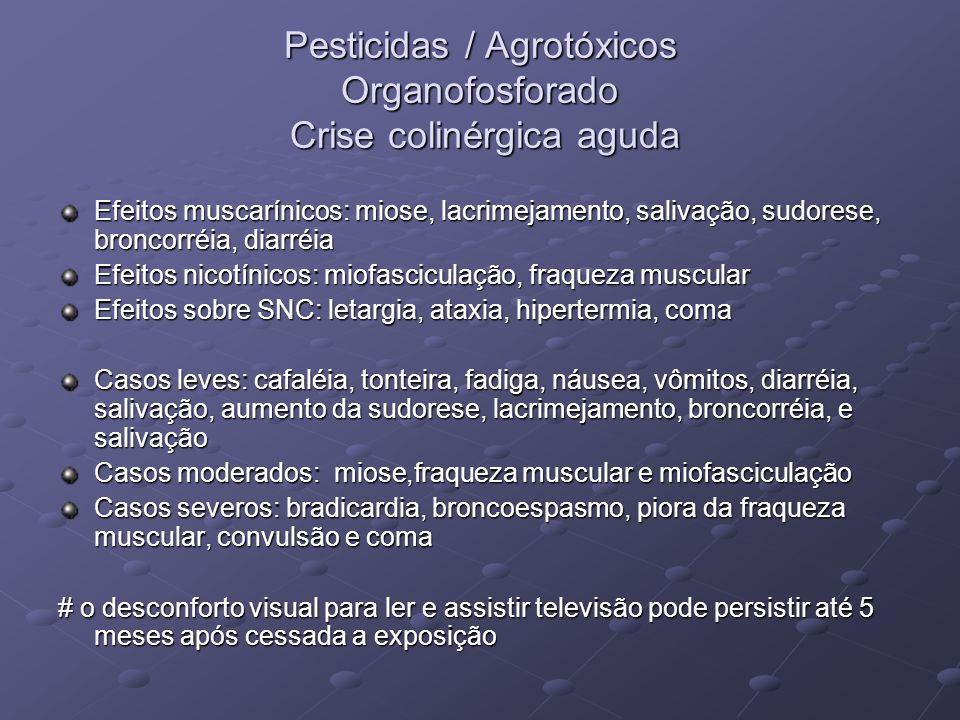 Pesticidas / Agrotóxicos Organofosforado Crise colinérgica aguda