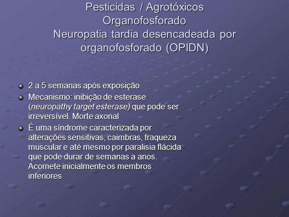 Pesticidas / Agrotóxicos Organofosforado Neuropatia tardia desencadeada por organofosforado (OPIDN)