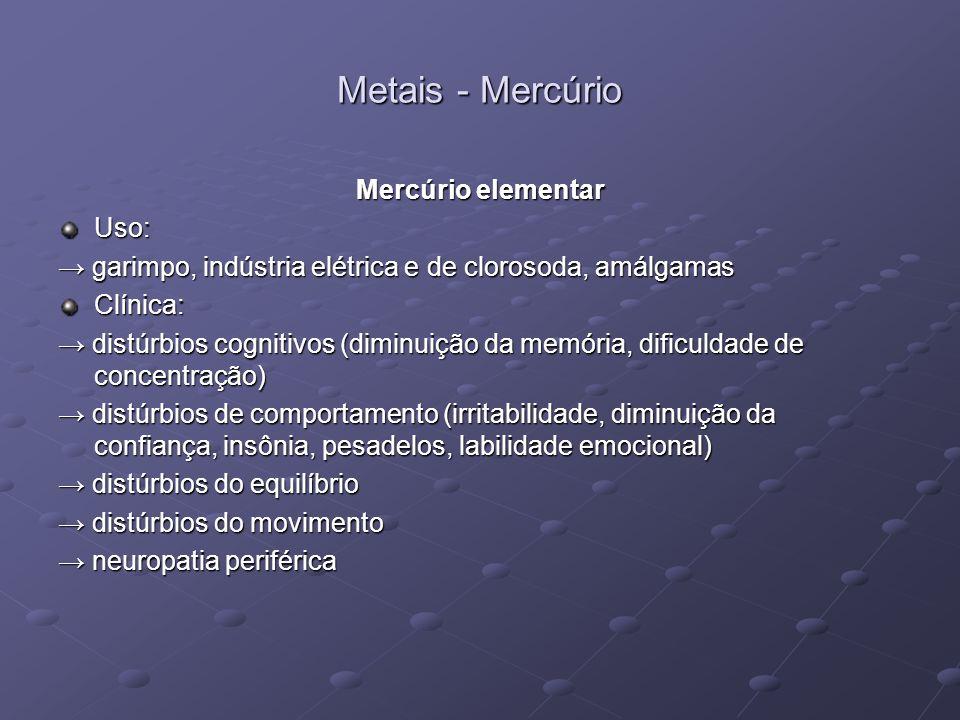 Metais - Mercúrio Mercúrio elementar Uso: