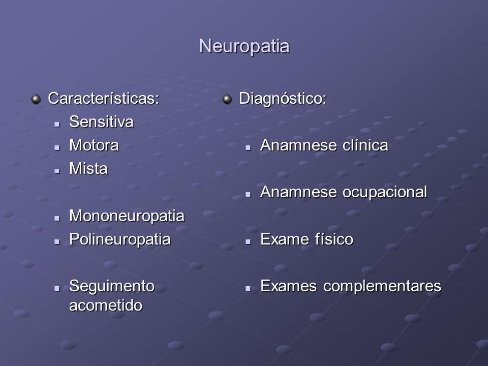 Neuropatia Características: Sensitiva Motora Mista Mononeuropatia