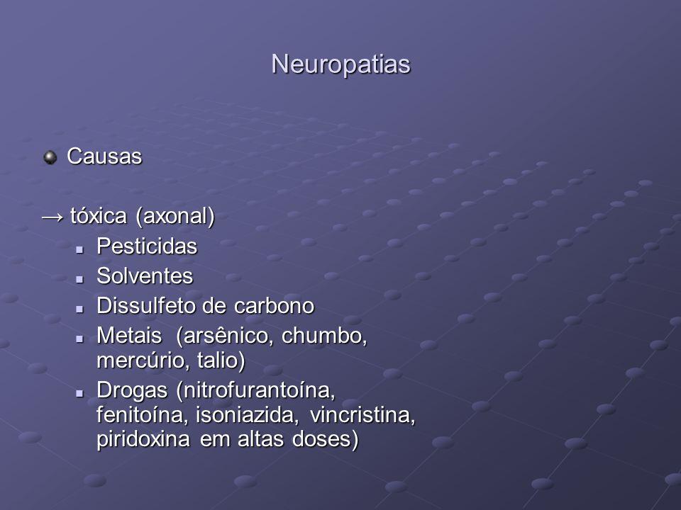 Neuropatias Causas → tóxica (axonal) Pesticidas Solventes