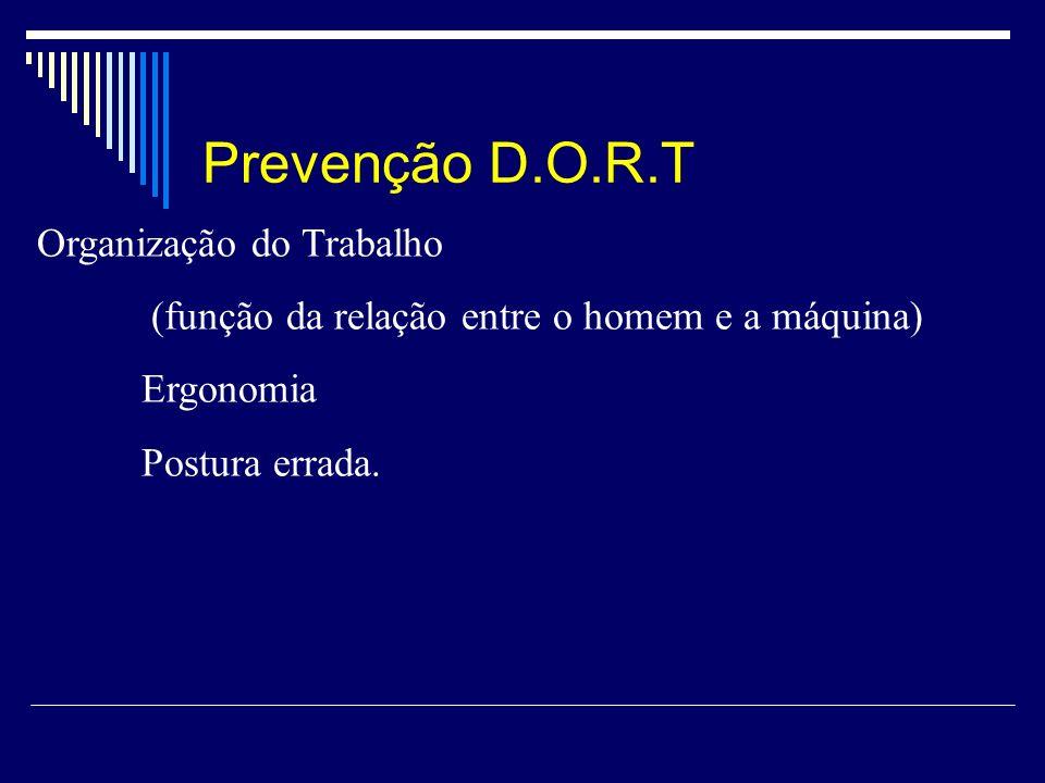 Prevenção D.O.R.T Organização do Trabalho