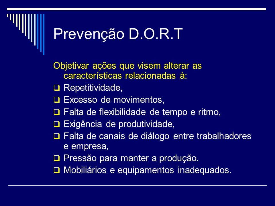 Prevenção D.O.R.T Objetivar ações que visem alterar as características relacionadas à: Repetitividade,