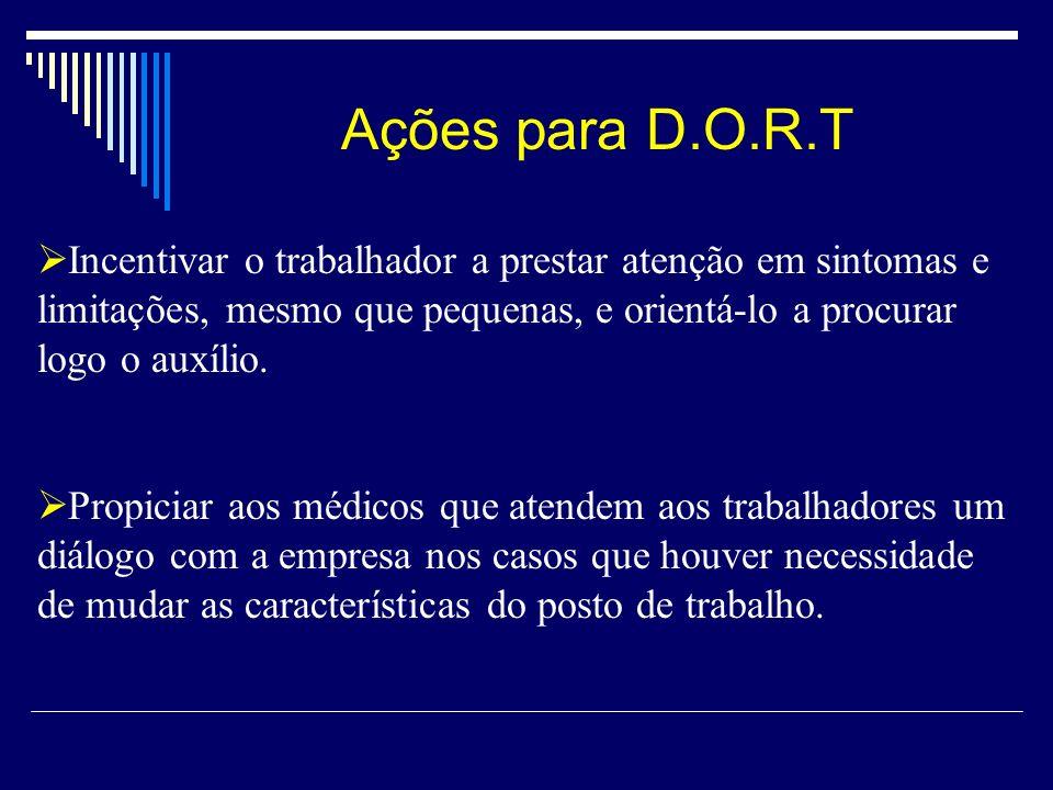 Ações para D.O.R.T Incentivar o trabalhador a prestar atenção em sintomas e limitações, mesmo que pequenas, e orientá-lo a procurar logo o auxílio.