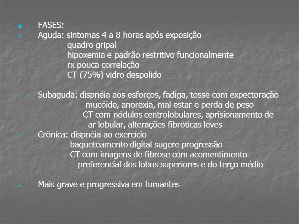 FASES:Aguda: sintomas 4 a 8 horas após exposição. quadro gripal. hipoxemia e padrão restritivo funcionalmente.