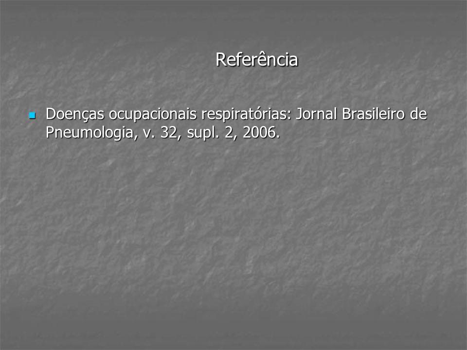ReferênciaDoenças ocupacionais respiratórias: Jornal Brasileiro de Pneumologia, v.
