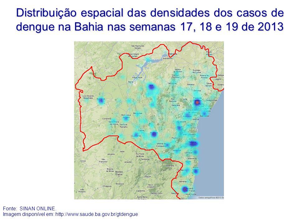 Distribuição espacial das densidades dos casos de dengue na Bahia nas semanas 17, 18 e 19 de 2013