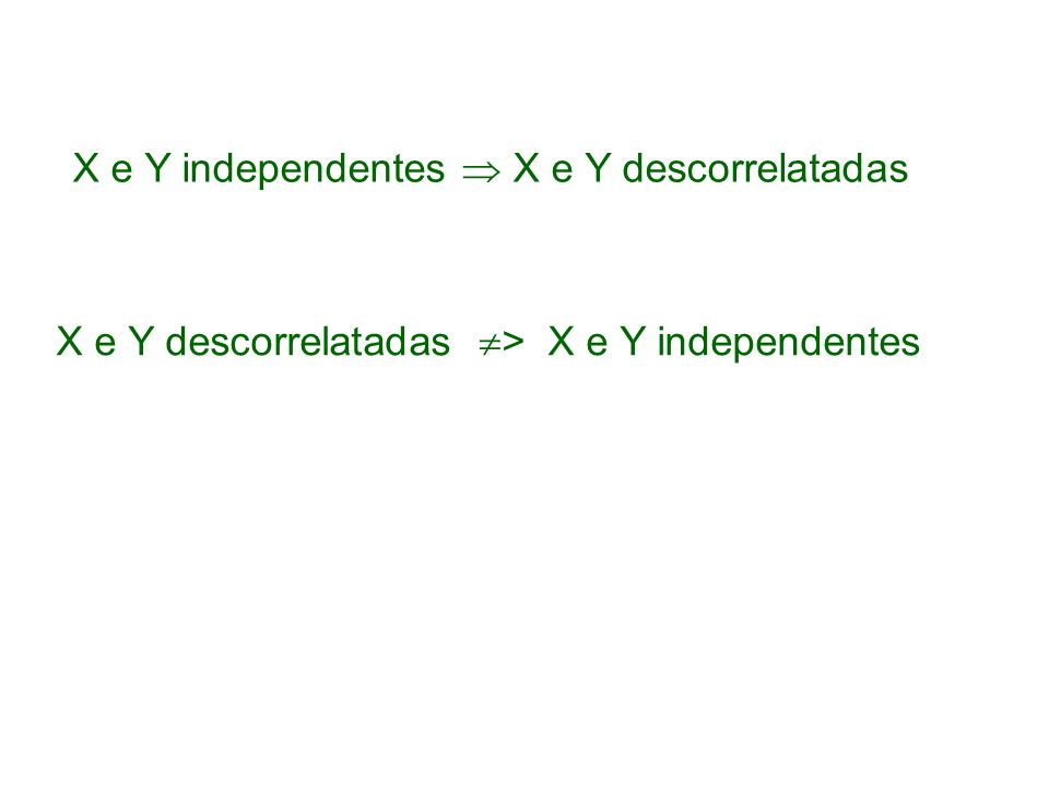 X e Y independentes  X e Y descorrelatadas