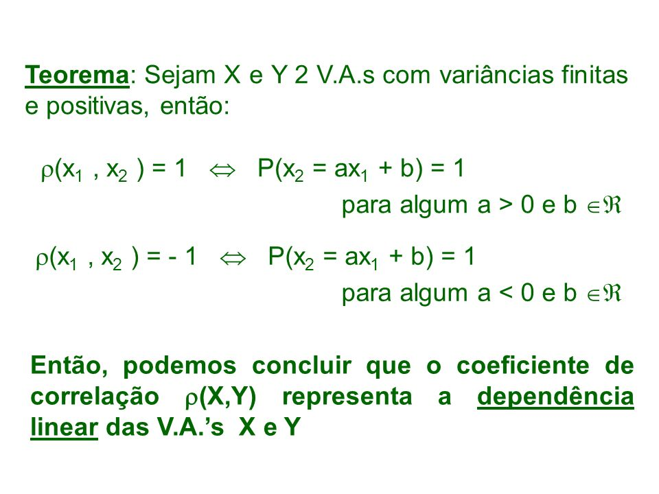 Teorema: Sejam X e Y 2 V.A.s com variâncias finitas e positivas, então:
