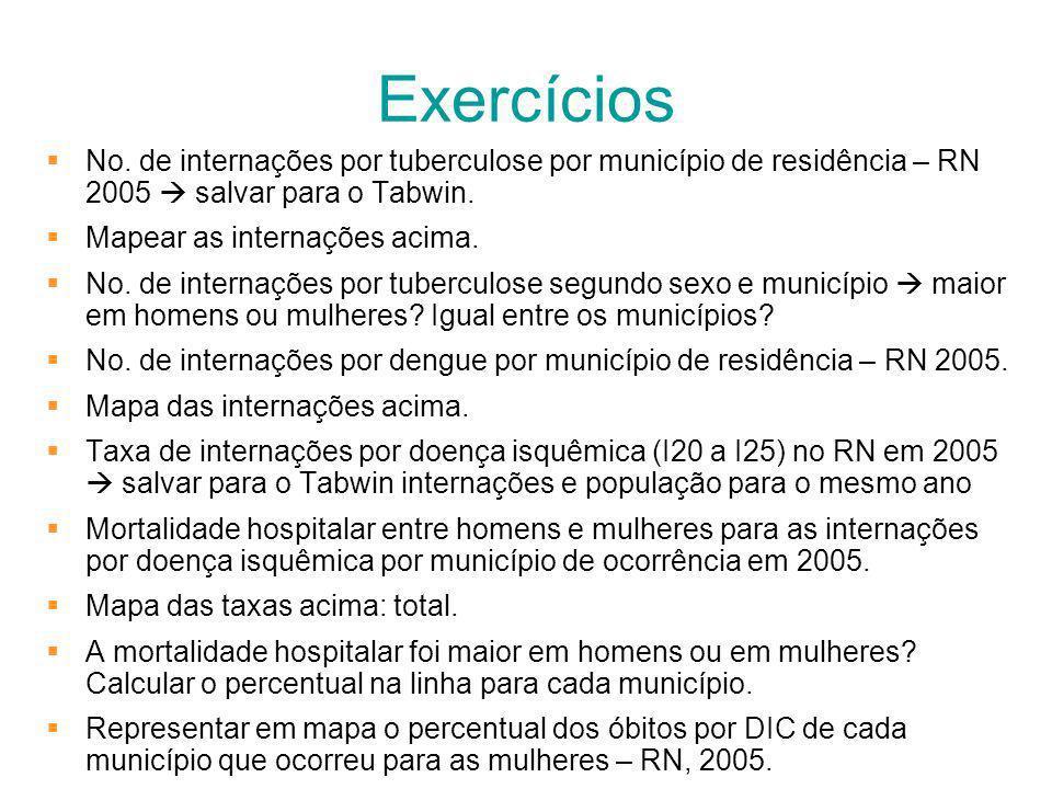 Exercícios No. de internações por tuberculose por município de residência – RN 2005  salvar para o Tabwin.