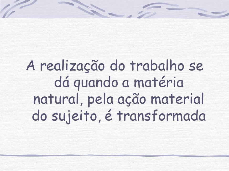 A realização do trabalho se dá quando a matéria natural, pela ação material do sujeito, é transformada