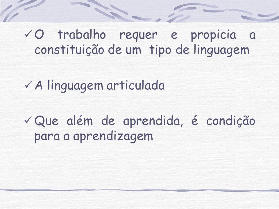 O trabalho requer e propicia a constituição de um tipo de linguagem